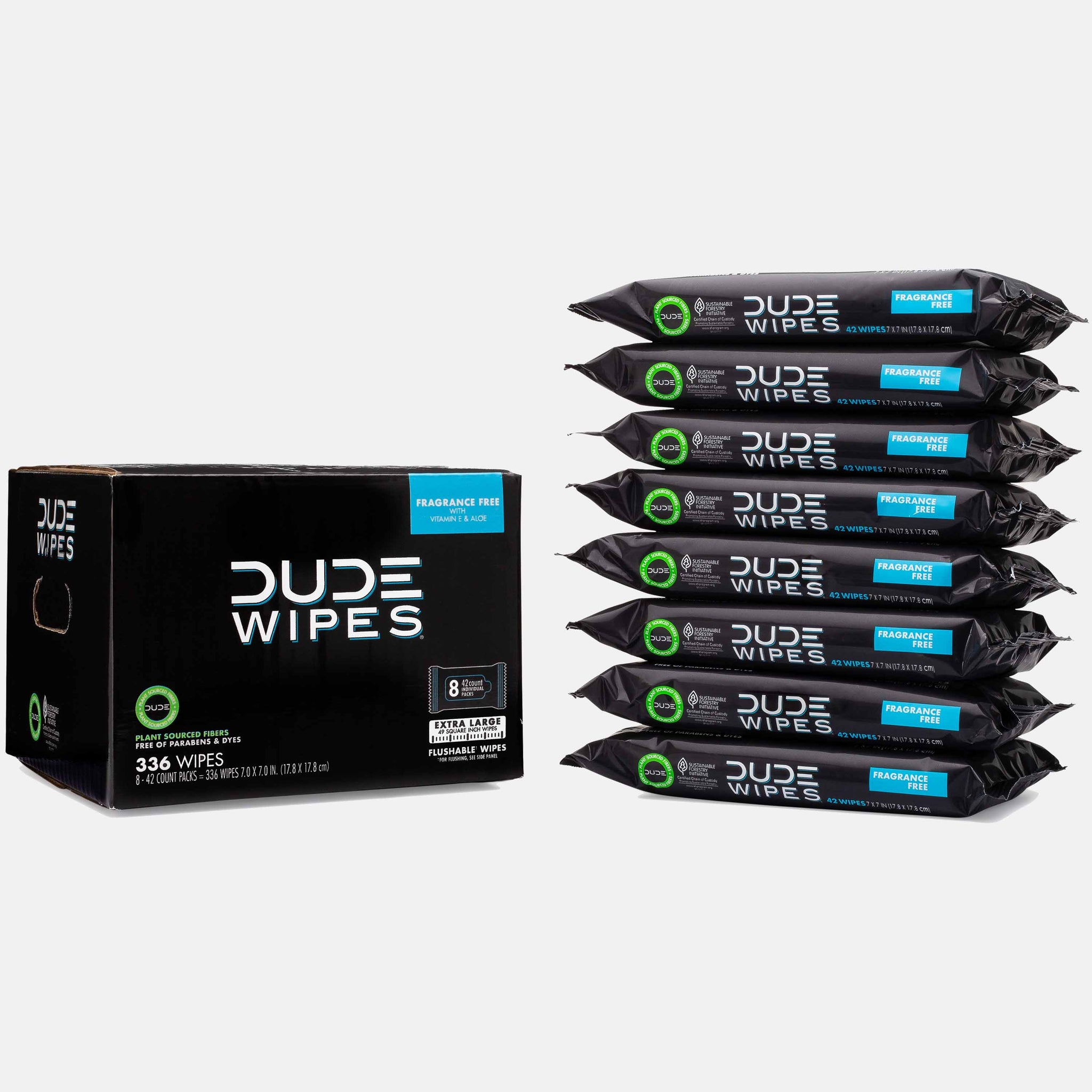 DUDE WIPES, FRAGRANCE FREE - 336CT STICKER SEAL DISPENSER CLUB PACK, (FLUSHABLE) - DudeProducts