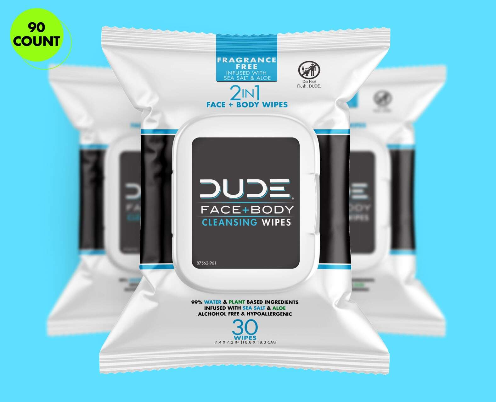 DUDE Face Wipes 30ct - Fragrance Free 3pk