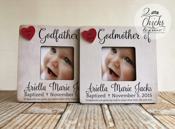 Godfather and Godfather Picture Frames, SET OF 2 Baptism Picture Frames, Personalized Baptism Picture Frames