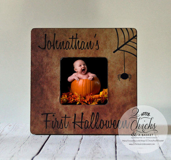 Baby's First Halloween Picture Frame - Spider Web