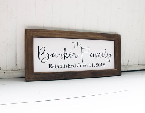 Family Name Sign, Wedding Gift Idea, Wood Framed Family Sign, Fixer Upper Inspired Wall Sign, Established Date Sign, Great Wedding Gift