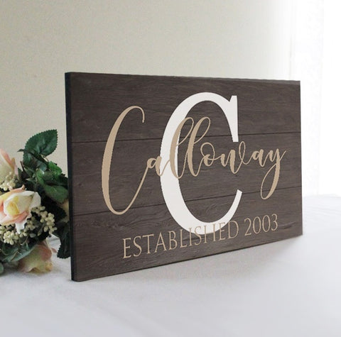 Personalized Large Family Name Wall Decor, Wedding Gift Idea, Family Wall Decor, Rustic Established Sign