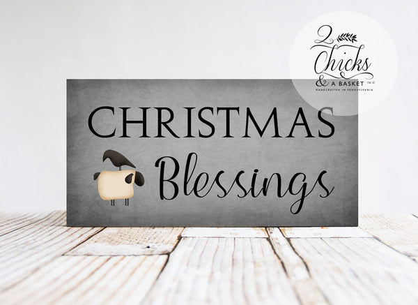 Christmas Blessings Handcrafted Sign, Primitive Style Christmas Sign, Primitive Christmas