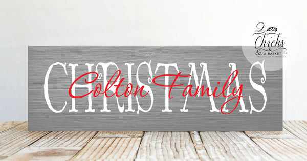 Family Christmas Sign, Rustic Christmas Wall Decor, Primitive Christmas Sign, Family Name Christmas