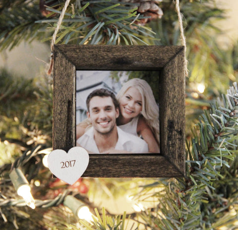 Christmas Ornament, Personalized Photo Ornament, Couple Christmas Ornament, Our First Christmas Picture Ornament, Wood Framed Ornament