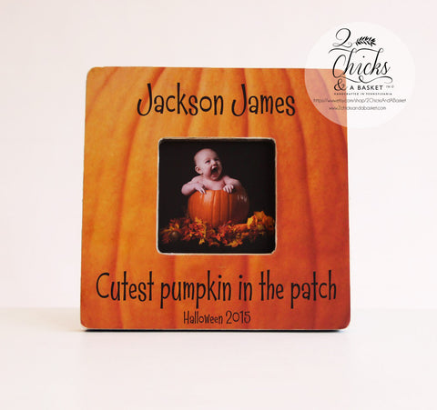 Cutest Pumpkin In The Patch Picture Frame, Personalized Halloween Picture Frame, First Halloween Frame, Halloween Gift Idea
