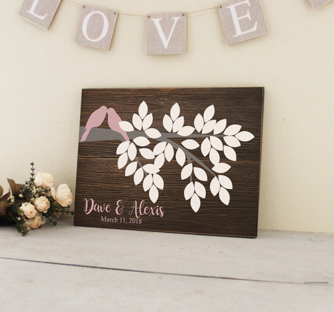 Wedding Guestbook Sign, Guest Book Alternative, Wedding Guestbook Wall Decor, Wedding Keepsake, Lovebird Fingerprint Tree Sign