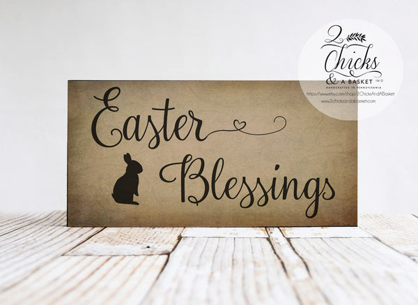 Easter Blessings Primitive Sign, Happy Easter Sign, Primitive Easter