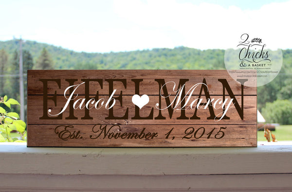 Family Name Sign, Customized Wedding Gift, Personalized Family Last Name Sign