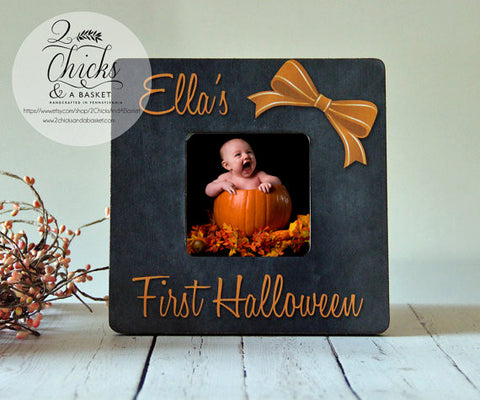Baby's First Halloween Picture Frame - Bow