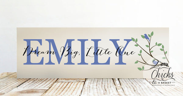 Nursery Sign With Quote, Child Name Sign, Nursery or Baby Shower Gift, Dream Big Little One Sign
