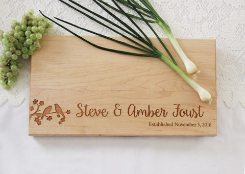 Lovebirds Cutting Board, Personalized Engraved Cutting Board, Great Gift Idea, Personalized Wedding Cutting Board