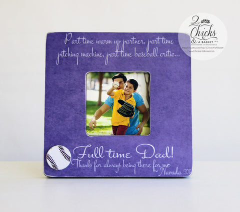Baseball Gift for Dad, Father Son Baseball Picture Frame, Personalized Baseball Frame