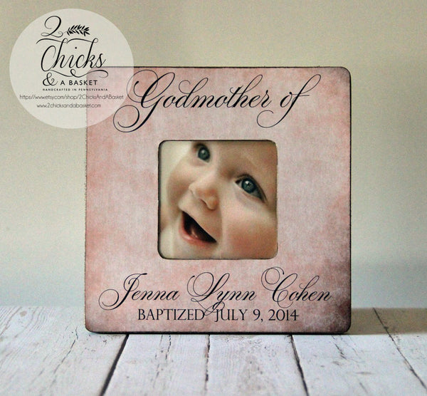Godmother Gift, Personalized Baptism Picture Frame, Godparent Gift, Baptism Gift Idea, Godparent Picture Frame