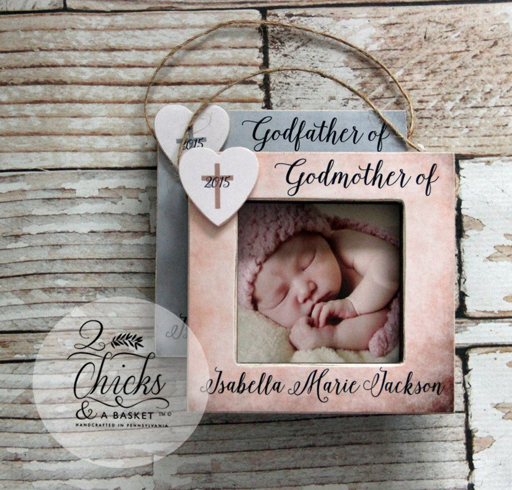 Godparent christmas ornaments set of 2 picture frame ornaments godparent christmas ornaments set of 2 picture frame ornaments personalized godparent ornament godparent christmas gift jeuxipadfo Choice Image