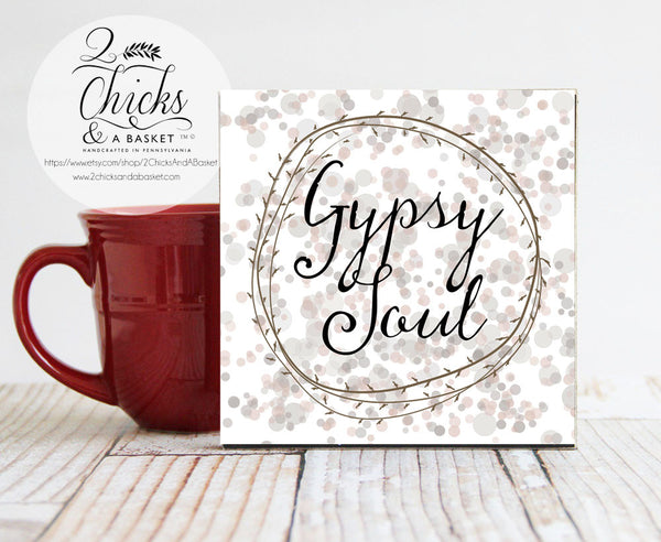 Gypsy Soul Boho Inspired Sign, Small Desk Sign, Gypsy Soul Sign, Handcrafted Wood Sign, Boho Decor