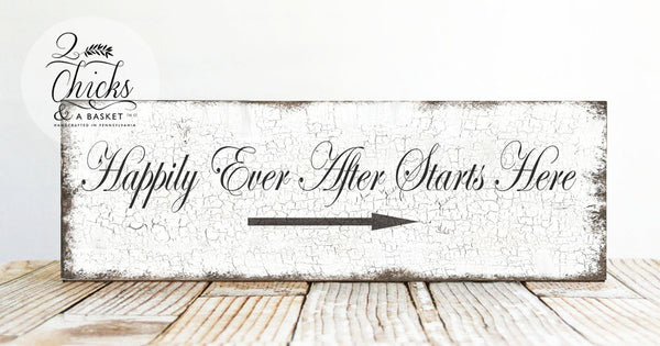 Happily Ever After Starts Here Wedding Sign, Wedding Decor