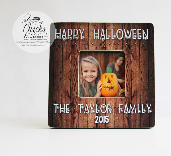Happy Halloween Personalized Family Picture Frame, Personalized Halloween Picture Frame, Fall Picture Frame