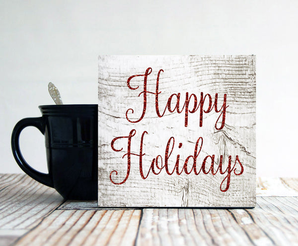 Happy Holidays Sign, Small Christmas Sign, Holiday Wall Decor, Primitive Christmas Sign