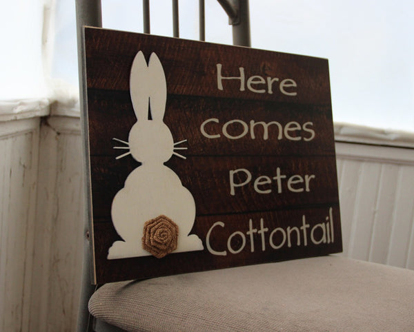 Here Comes Peter Cottontail Sign, Welcome Bunny Wall Sign, Primitive Easter, Bunny with Burlap Sign