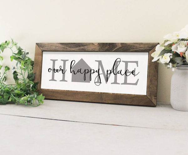 Home Our Happy Place, Wedding Gift Idea, Wood Framed Wall Sign, Fixer Upper Inspired Wall Sign, Welcome Home Sign, Great Wedding Gift