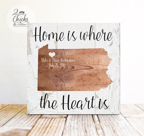 Home Is Where the Heart Is Sign, State Sign, Personalized Family State Sign, Wedding Sign
