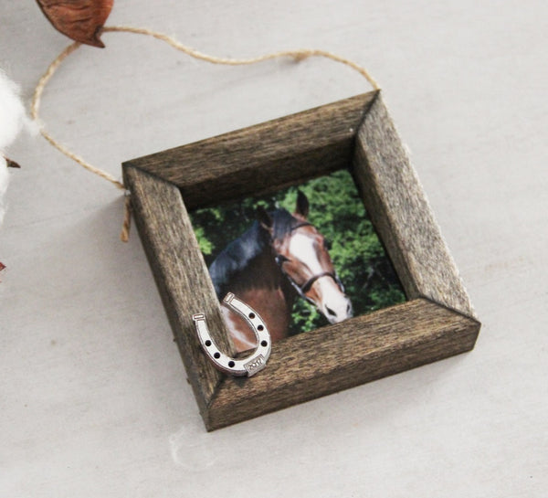 Horse Photo Ornament, Personalized Christmas Ornament, Wood Framed Ornament, Rustic Photo Ornament, Horse Lover Christmas