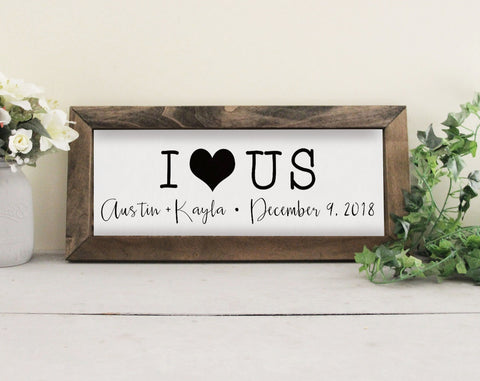 I Love Us Family Name Sign, Wedding Gift Idea, Wood Framed Family Sign, Established Date Sign, Great Wedding Gift, Farmhouse Style Decor