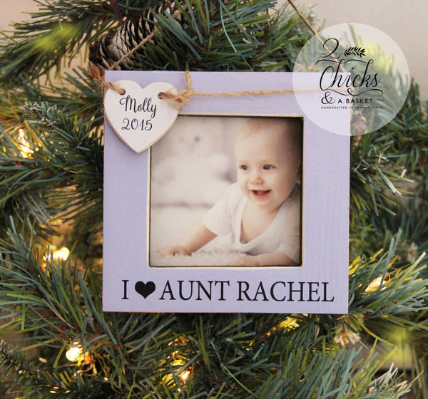 Aunt Personalized Christmas Ornament, Picture Frame Ornament, Baby's First Christmas Ornament, I Love My Aunt Personalized Ornament