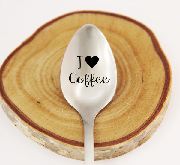 I Love Coffee, Personalized Spoon, Engraved Coffee Spoon, Personalized Silverware
