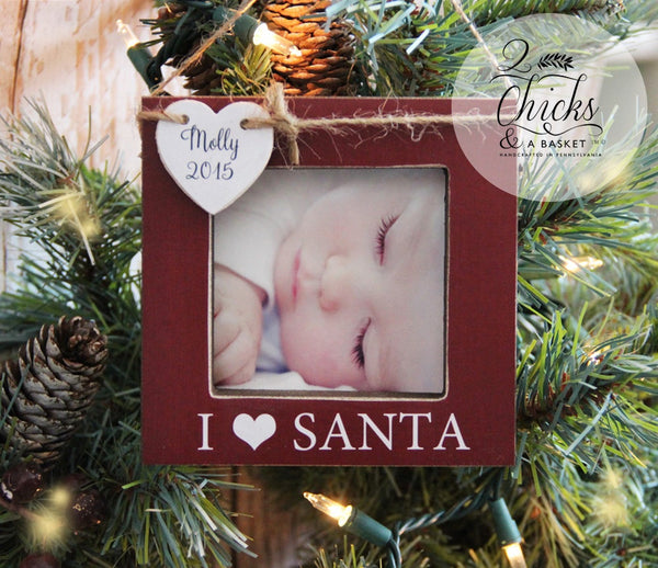 Personalized Christmas Ornament, Picture Frame Ornament, Baby's First Christmas Ornament, I Love Santa Personalized Ornament