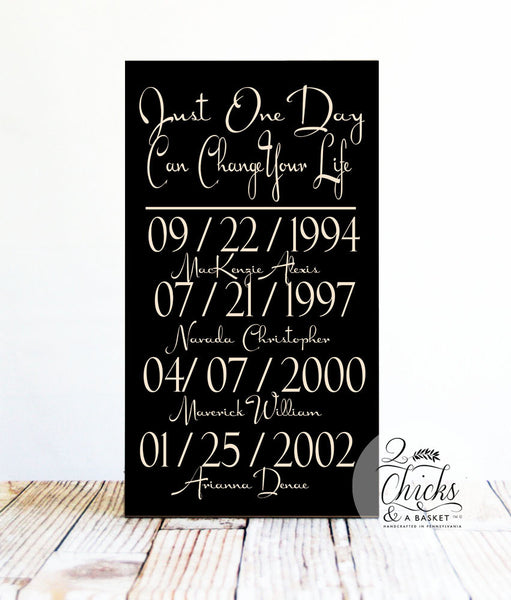 Just One Day Can Change Your Life Sign, Important Dates Sign, Personalized Our Story Sign, Great Wedding Gift