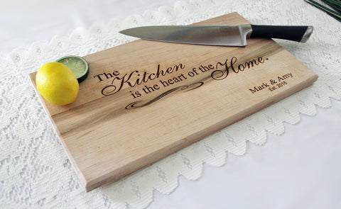 The Kitchen Is The Heart Of The Home Cutting Board, Personalized Engraved Cutting Board, Great Gift Idea