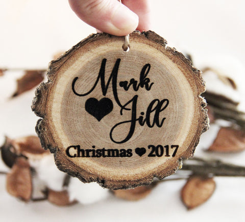 Personalized Christmas Ornament, Engraved Wood Slice Ornament, Couple Christmas Ornament, Our First Christmas Ornament