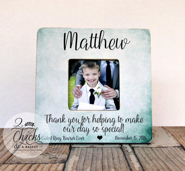Thank You For Helping To Make Our Day So Special Ring Bearer Picture Frame, Ring Bearer Gift, Personalized Ring Bearer Frame