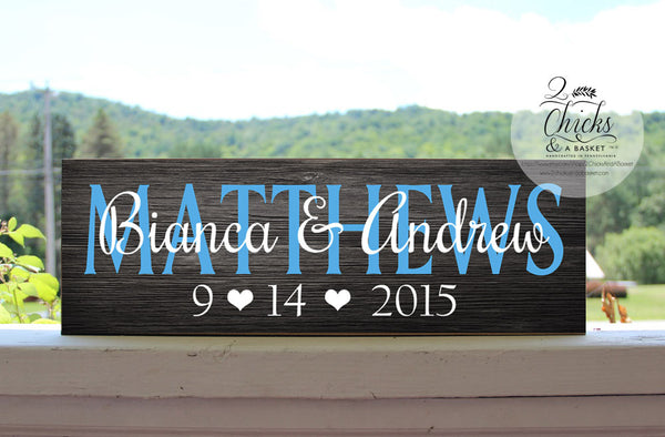Custom Family Name Sign, Customized Wedding Gift, Personalized Family Last Name Sign
