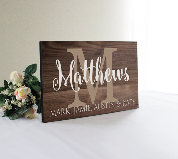 Personalized Large Family Sign, Wedding Gift Idea, Family Wall Decor, Rustic Established Sign