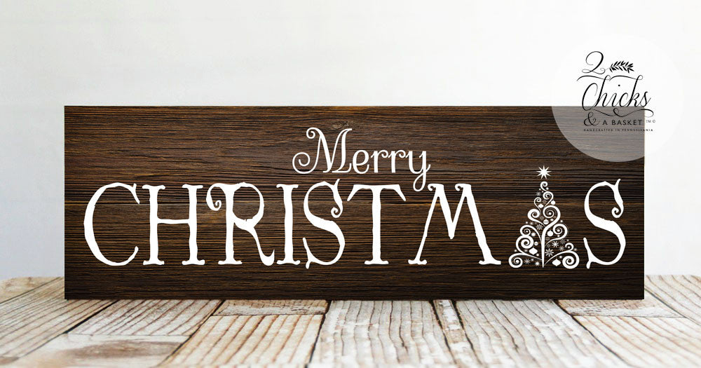 Merry Christmas Quote Wall Art Decal: Merry Christmas Sign, Rustic Christmas Wall Decor