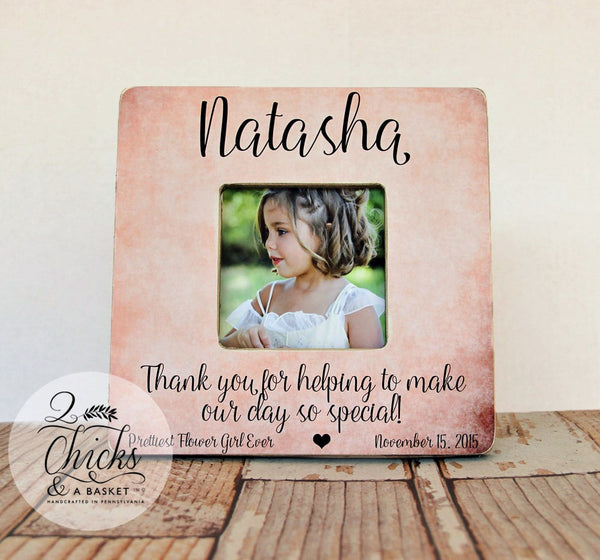 Thank You For Helping To Make Our Day So Special Flower Girl Personalized Picture Frame, Flower Girl Gift, Personalized Flower Girl Frame