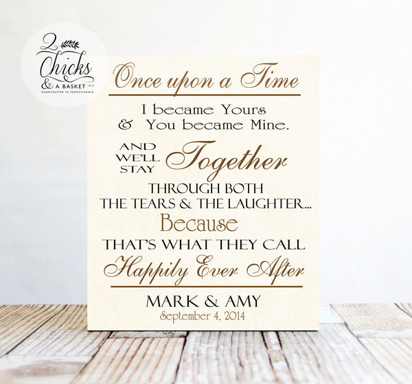 Once Upon A Time Sign, Personalized Love Story Sign, Great Wedding Gift