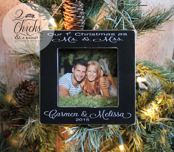 Our First Christmas Personalized Ornament, Picture Frame Ornament, Christmas Wedding Gift