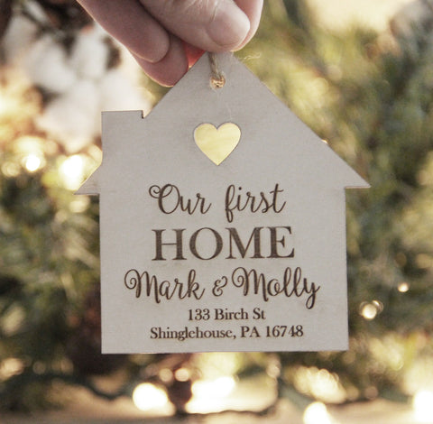 Our First Home Ornament, Christmas Ornament, Personalized Ornament, Couple Christmas Ornament, New House Gift Idea