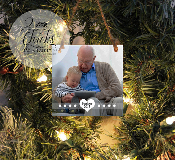 Personalized Christmas Ornament, Photo Ornament, Custom Photo Ornament, Grandpa Christmas Gift, Grandpa Ornament