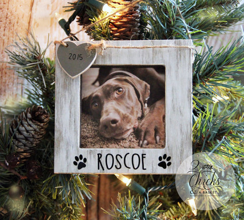 Personalized Pet Christmas Ornament, Picture Frame Ornament, Dog Christmas Ornament, Personalized Pet Picture Frame Ornament