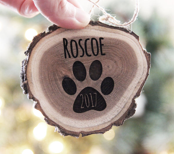 Personalized Pet Christmas Ornament, Engraved Wood Slice Ornament, Dog or Cat Christmas Ornament, Pet Christmas Ornament