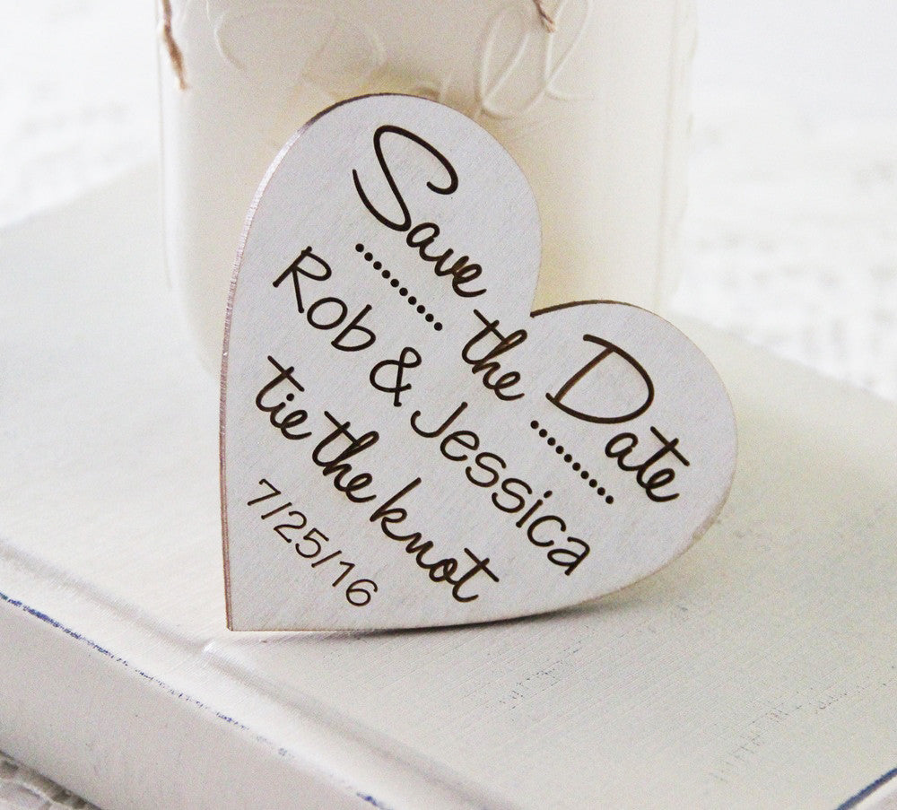 Heart Save the Date Magnet, Wedding Announcement, Wood Save the Date ...