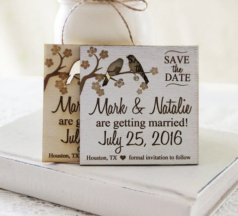Spring Save the Date Magnet, Wedding Announcement, Wood Save the Date, Rustic Spring Wedding Announcement, Lovebird Save The Dates