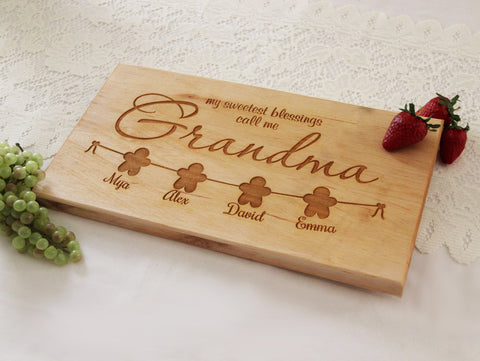 My Sweetest Blessings Call Me Grandma Cutting Board, Personalized Engraved Cutting Board, Great Gift Idea for Grandma