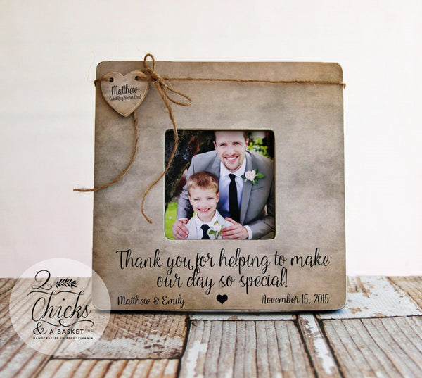 Ring Bearer Picture Frame, Ring Bearer Thank You Gift Idea, Thank You For Helping To Make Our Day So Special, Personalized Frame