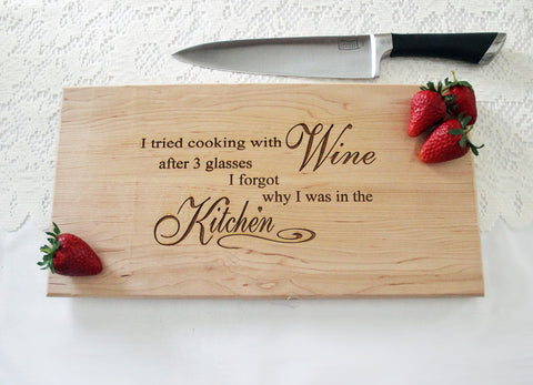 Funny Wine Lover Cutting Board, Personalized Engraved Cutting Board, Great Gift Idea